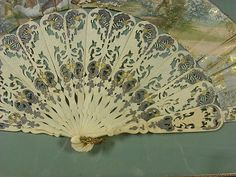 """ANTIQUE 1800'S HAND PAINTED GOLD , BONE? ENGLAND LARGE 20"""" FAN, SHADOW BOX, ART"""