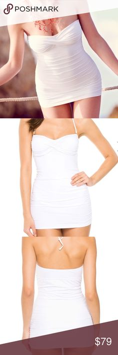 Antibes One Piece Bandeau Swimsuit Dress Style: ANTIBES  Chic, shirred, bandeau swimdress with twist detail at bust and removable strap. Brand new with tags. Melissa Odabash Swim One Pieces