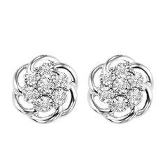 Warren Hannon Jeweler :: Silver Diamond Earrings | Silver Diamond Earrings