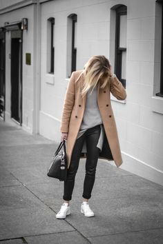 The Rue Collective - camel coat and white sneakers