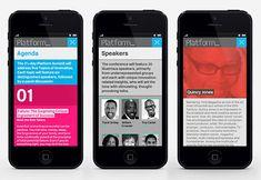 Mobile website designed by Pentagram for not-for-profit, technology and entrepreneurship organisation Platform.