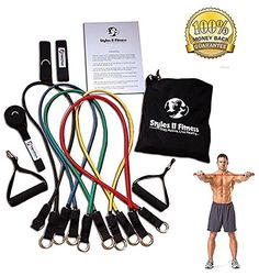 Styles II Fitness Resistance Tube Exercise Workout Elastic Stretch Band Set With Door Anchor Ankle Strap and Carrying Bag >>> You can find out more details at the link of the image. (Note:Amazon affiliate link)