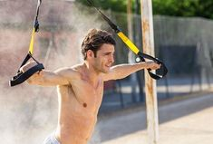 It's time to add suspension training to your routine. These TRX workouts will help you get the most out of the system and work a wide range of muscles. Dumbbell Chest Workout, Chest Workout For Men, Triceps Workout, Chest Workouts, At Home Workouts, Trx Workout, Circuit Workouts, Workout Clothes For Men, Basic Workout