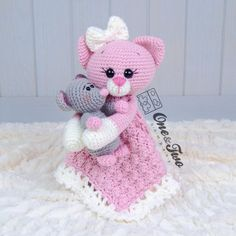 Ravelry: Kissie Kitty & Skip Mouse lovey pattern by Carolina Guzman Gato Crochet, Crochet Bear, Crochet Animals, Crochet Dolls, Crochet Lovey Free Pattern, Crochet Blanket Patterns, Dou Dou, Lovey Blanket, Security Blanket