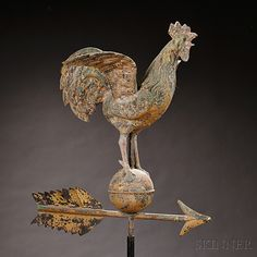 Molded Copper Crowing Rooster Weathervane