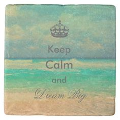 """Beautiful trendy vintage beach """"Keep Calm and Dream Big"""" quote image, blue, green, white, grey, sand colors, vintage, antique effects, sea, beach, sand, earth, ocean, summer, sun, season, typography, quotation, inspirational, whimsical, unique, fashion, popular, art, dreamy, design, cute, pretty, spiritual, strength, cool, illustration, holidays, tropical, fully customizable, monogram, custom, awesome image. Personalise your name, surname, or favourite words, or delete the word for image…"""
