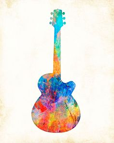 """""""Watercolor Guitar"""" is a Signed Art Print from the original illustration of Artist Dan Morris. The artwork is featured on giftware, stationery, and fabrics. Dan Morris is known for his stylized, realistic illustration and use of bold colors. Brighten up any wall space in your home or office with this stunning art print hand signed by the artist. •Premium Heavyweight Fine Art matte paper, acid free, and printed with Archival inks. • Signed by the Artist. *Available in multiple sizes. • All…"""