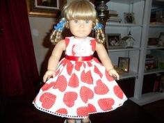 Sweet Hearts and Lace Valentines  Dress for American by renwill22, $14.99