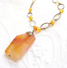 Carnelian Necklace Beaded Natural Stone Brass by JewelryBySS, $96.00