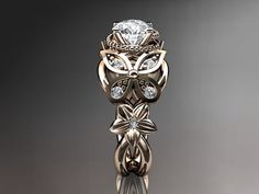 14kt rose gold diamond floral butterfly wedding by anjaysdesigns