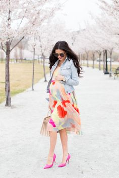 Spring Flowy Dress... I love the colors of this dress. I already have that color of jean jacket
