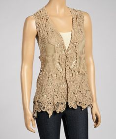 Look what I found on #zulily! Coffee Embroidered Linen-Blend Sleeveless Top by Pretty Angel #zulilyfinds