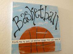 Inspirational sports artwork canvas 12 x 12 sign basketball