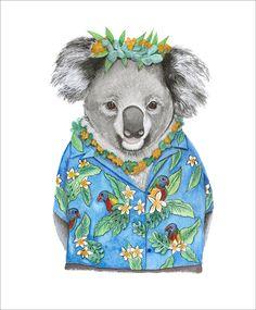 """Aloha Koala - Stretched Canvas print Hawaii Koala Ed. 1 of 150"" by Mia Laing. Paintings for Sale. Bluethumb - Online Art Gallery Buy Art Online, Australian Artists, Stretched Canvas Prints, Paintings For Sale, Artist Art, Online Art Gallery, Great Artists, Collaboration, Original Artwork"
