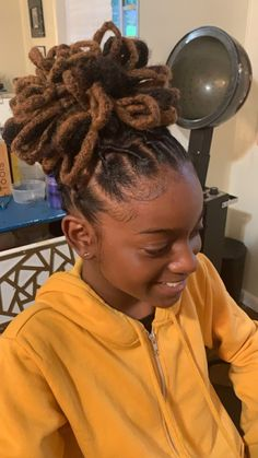 Visit is online today to book your girls and guys for some natural hair maintenance and ❤️ Short Dreadlocks Styles, Short Locs Hairstyles, Dreadlock Styles, Girl Hairstyles, Curly Hair Styles, Locs Styles, Hairstyles Videos, Natural Hair Tips, Natural Hair Styles