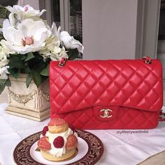 Red Classic Flap Bag