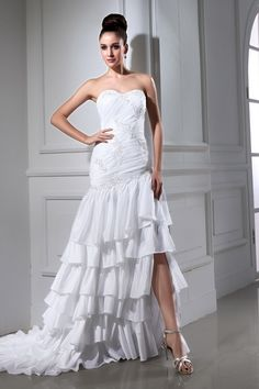 Sweetheart Modern White Bridal Dresses - Order Link: http://www.theweddingdresses.com/sweetheart-modern-white-bridal-dresses-twdn3417.html - Embellishments: Beading,Applique,Layered; Length: Sweep/Brush Train; Fabric: Taffeta; Waist: Dropped - Price: 163.72USD
