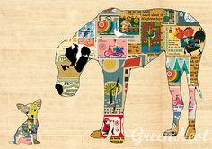 A3 Format -  Dogge mit Chihuahua Collage Poster   von VintagePaperGoods - GreenNest auf DaWanda.com
