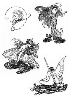"Superb vignettes by Arthur Rackham for ""A Midsummer-Night's Dream"" Art Inspo, Arte Sketchbook, Fairytale Art, Alphonse Mucha, Piercing Tattoo, Piercings, Illustration Art, Animal Illustrations, Illustrations Posters"