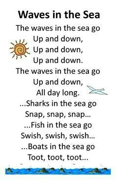 Itty Bitty Summer Tots & Tykes Rhyme: Wave in the Sea- circle time song Preschool Songs, Preschool Classroom, In Kindergarten, Physics Classroom, Beach Theme Preschool, Summer Preschool Themes, Montessori Elementary, Elementary Teacher, Songs For Toddlers