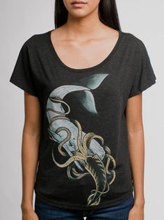 8b4027be8 Whale vs Squid - Multicolor on Black Triblend Womens Dolman T Shirt I  Dress, Whale