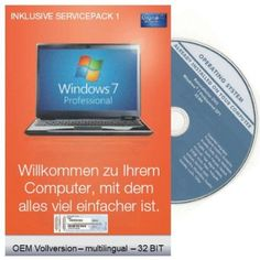 Windows 7 Professional 32 Bit OEM inkl. Service Pack 1 (ML) Microsoft, 32 Bit, Operating System, Computer, Oem, Packing, Electronics, Phone, Windows