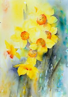 Cheerful yellow narcissus painted in watercolour.