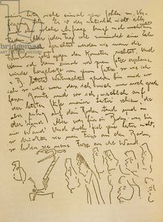 Manuscript by Franz Kafka (1883-1924) illustrated by himself, c 1910