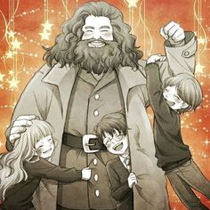 Harry, Ron, Hermione and Hagrid Rubeus Hagrid Fanart Harry Potter, Harry Potter World, Mundo Harry Potter, Harry Potter Drawings, Harry Potter Universal, Harry Potter Fandom, Ron And Hermione, Harry Potter Hermione, Comics