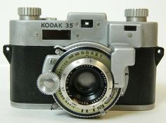 Kodak 35 Camera from 1940 to 1951. Silver and Black Color.