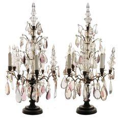 French Brass and Rock Crystal Four-Light Candelabra Girandoles