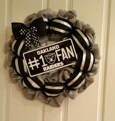 Nfl burlap Oakland Raiders wreath made by Audrey Rose