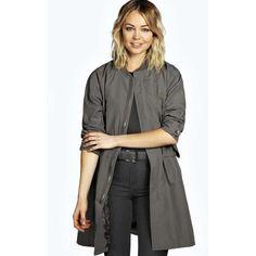 Boohoo Lauren Longline Oversized MA1 Bomber Jacket ($44) ❤ liked on Polyvore featuring outerwear, jackets, charcoal, flight jacket, blouson jacket, oversized bomber jacket, quilted bomber jacket and bomber jacket