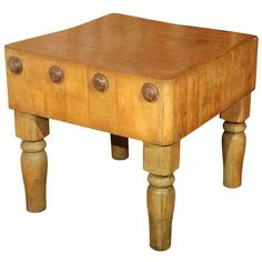 Late 19th Century French Oak Butcher Block Table. Patina! Detail!