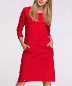 Loving this Red Pocket Shift Dress on #zulily! #zulilyfinds