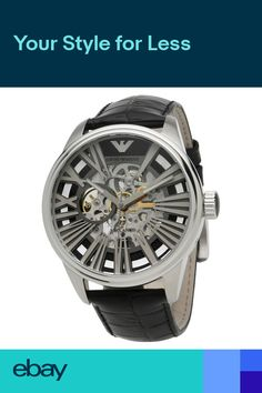 fe46e2547d89 Brand New Emporio Armani AR4629 Leather Meccanico Skeleton Mens Watch