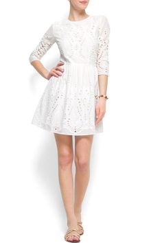 20 Under-$200 Wedding Dresses, Fit For A City Hall Ceremony #refinery29  http://www.refinery29.com/31752#slide-6  Mango Broderie Dress, $75, available at Mango.