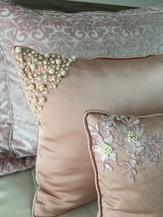 Decorative Cushions, Scatter Cushions, Diy Pillows, Sofa Pillows, Embroidered Bedding, Cushion Cover Designs, Fabric Origami, Ring Pillow Wedding, Foam Crafts