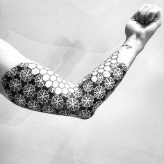 Abstract geometric sleeve tattoo. Tattoo Artist: Melow Pérez