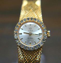 4d6eee6cd1e Elegant Ling 21 Prix Gold Plated Bracelet Watch with Jewelled Bezel -  Manual wind Mechanical Watch. Gold Plated BraceletsMechanical WatchVintage  ...