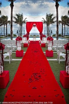 red-@Jaime Tynski  (minus the vases with weird flowers going down the aisle, with something else, this could look really cool!)