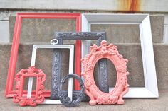 Coral White and Gray Grey Picture Frame Set by melissap6908, $60.00