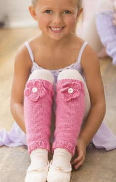 Free Knitting Pattern for Ballerina Bloom Leg Warmers - Jodi Lewanda's easy leg warmers feature a knit flower. Child's size 4 – 12