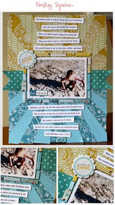 Starburst design with tile around focal and strip typed journaling.
