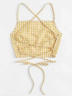Shop Criss Cross Back Checked Cami Top at ROMWE, discover more fashion styles online. Diy Clothing, Sewing Clothes, Custom Clothes, Clothing Patterns, Boutique Clothing, Clothes Crafts, Diy Clothes Tops, Refashioning Clothes, Upcycling Clothing