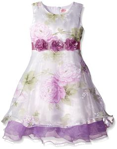 Sunny Fashion Big Girls Dress Tulle Bridal Lace With Flower Detailing, Purple, 7