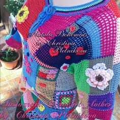 Thank you for stopping by this awesome Crochet tunic pullover blouse gypsy gipsy patchwork colorful boho hippie color blocks  Crochet boho tunic Gipsy Queen Gorgeous Crochet tunic sweater in gipsy gypsy & boho style with hippie motives, created in patchwork style and bohemian carelessness from colorful color blocks, its just wearable Art! Bright, bold, wild, romantic ...  In stock and ready to ship in XL size, color as shown on photos.  SEE SIZE MY CHART BEFORE CHOOSING YOUR SIZE Please c...