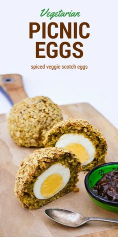 Vegetarian picnic eggs also known as vegetarian Scotch eggs. This traditional picnic food is brought up to date with a filling of veggie haggis, oats, peanut butter and spices. Perfect for a picnic or buffet.