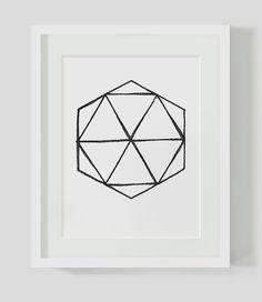 Geometric Polygon Minimalist Handdrawn Black and White Wall