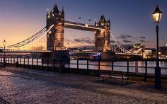 タワーブリッジ, 夜, 夕日, テムズ, ロンドン, 英国